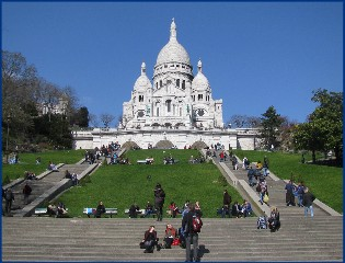 Sacre Coeur Basilica is located at the top of Montmatre or Marty's hill